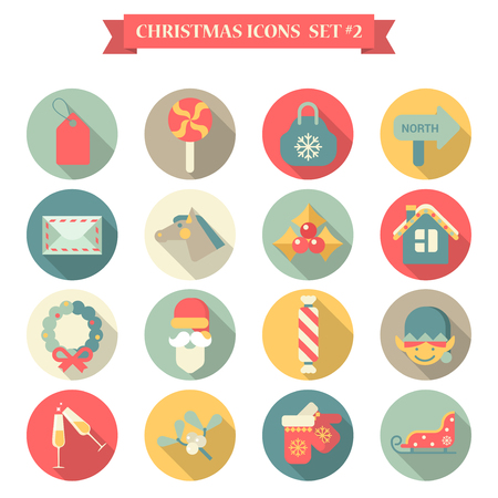 christmas mail: Christmas New Year icon set flat style wreath label candy bag mail horse santa champagne gloves sledge elf. Collection of seasonal greeting holiday icons web element infographics print template.