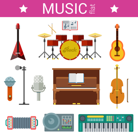 piano: Flast design vector template of musical instruments vector icon set. Guitars, pianos, microphones. Flat object collection. Illustration