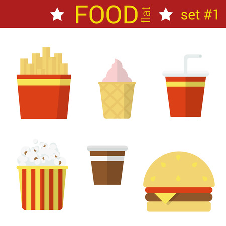 fried: Flat design fast food vector icon set. Burger, fried potato, coffee, cola, ice cream, popcorn. Food flat collection. Illustration