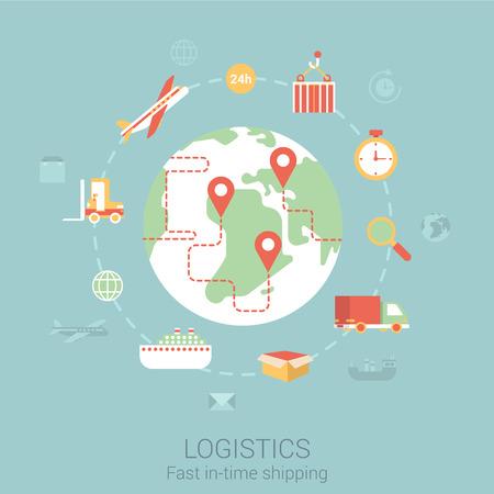 수송: 전달 전송 선박 자동차 트럭 밴 글로벌 세계 및 벡터 웹 배너 그림 인쇄 자료 웹 사이트를 클릭 인포 그래픽 요소 컬렉션 운송 물류 현대 평면 디자인