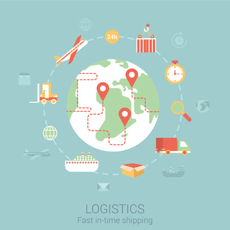 運輸: 現代平面設計理念,為物流運輸配送運輸艦轎車貨車麵包車全球化的世界和矢量網絡橫幅插圖印刷材料的網站點擊的信息圖表元素集合。