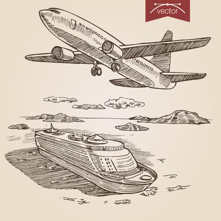 aereo: stile incisione penna matita campitura cova carta pittura retro annata vettore lineart illustrazione set di trasporto. Aereo nel cielo e nave da crociera in oceano.
