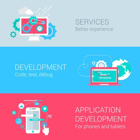 web development: Application development concept flat icons set services monitor gear programming code test debug mobile phone tablet app develop vector web illustration website click infographics elements collection. Illustration