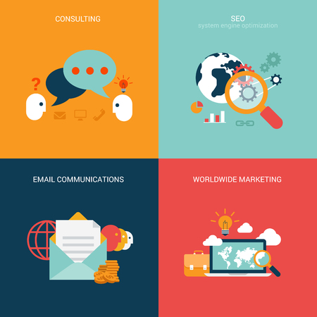 email icons: Flat design vector illustration concept process icons set of modern seo consulting email marketing communication. Big flat processes collection.