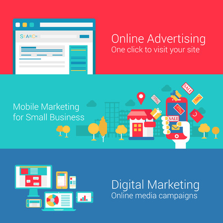 Online marketing concept flat icons set of seo internet advertisement mobile promotion digital marketing campaign search engine vector web illustration website click infographics elements collection.