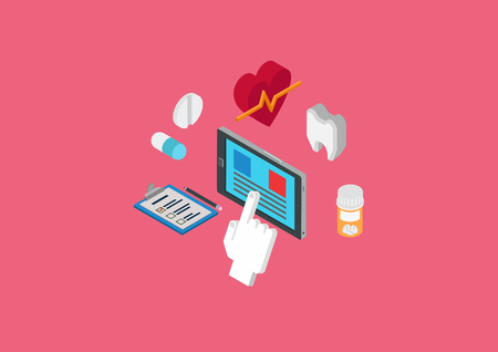 pixelart: Medical diagnostics, heart beat and dental monitoring tablet software. Flat 3d isometric pixel art modern design concept. Tooth, pills, touch screen tablet, checklist vector. Flat web site infographic