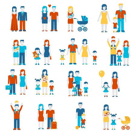 люди: Семейные плоский стиль людей фигур родительских родители детей детей сын дочь анкета пара жена муж мальчик девочка детские инфографика пользовательский интерфейс набор значков, изолированных коллекцию векторных иллюстраций. Иллюстрация