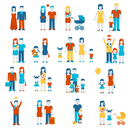parenting: Family flat style people figures parenting parents children kids son daughter couple wife husband boy girl infant infographics user interface profile icons set isolated vector illustration collection.
