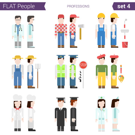 professional people: Flat style design professional people vector icon set. Professions doctor, miner, carpenter, farmer, road police, traffic, painter, graduate, cook, plumber. Flat people collection.