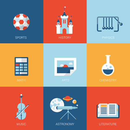 college campus: Flat college university school campus design icons set sports history physics math arts chemistry music astronomy literature modern web click infographics style vector illustration concept collection. Illustration