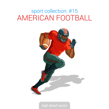 스포츠맨 벡터 컬렉션입니다. 미식 축구 검은 플레이어 질주 공입니다. 스포츠맨 높은 세부 그림입니다.