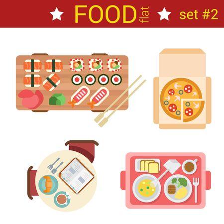 omelet: Flat design restaurant food dishes vector top view dish set. Sushi rolls, pizza, breakfast croissant, omelet, steak dinner.