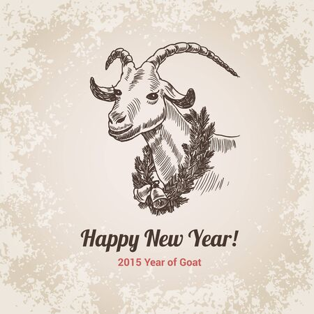 crosshatch: 2015 Goat Chinese New Year symbol hand drawn engraving style template for postcard, poster, banner. Pen and pencil crosshatch paper drawing. Retro and vintage vector lineart illustration.