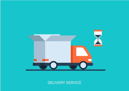 camion: Concepto plana Servicio de entrega ilustración del vector del estilo. Camión abstracto con abierto blanco caja contenedora y el tema de productos de envío tienda de artículos de reloj de arena. Gran colección conceptual plana. Vectores