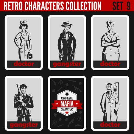 mafia: Vintage retro people collection. Mafia noir style. Gangsters, Doctors. Professions silhouettes.