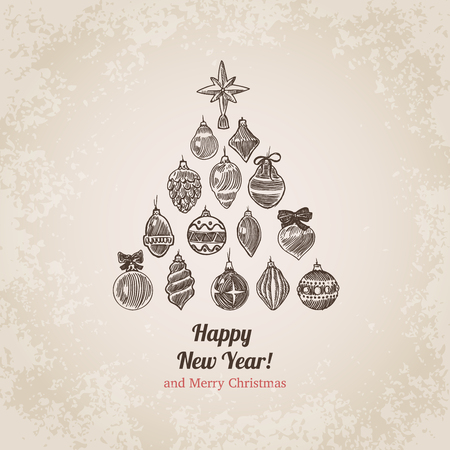 Christmas tree decorations set New Year handdrawn engraving style postcard template. Pen pencil crosshatch hatching paper drawing retro vintage vector lineart illustration.