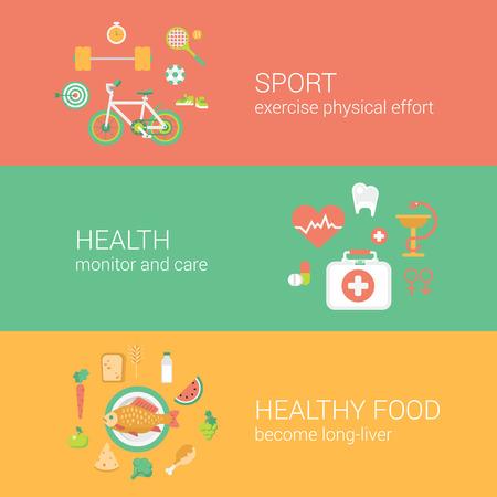 ヘルシー スポーツ トレーニング運動ピュア食品コンセプト フラット アイコン バナー テンプレートは、ベクター web 図ウェブサイトをクリックして