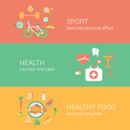 Healthy lifestyle sports workout exercise pure food concept flat icons banners template set vector web illustration website click infographics elements.