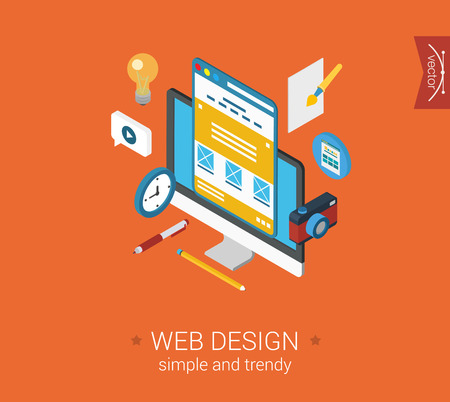 Web design website interface layout flat 3d isometric pixel art modern design concept vector icons collage composition. Desktop objects idea camera. Web banners illustration website click infographic.
