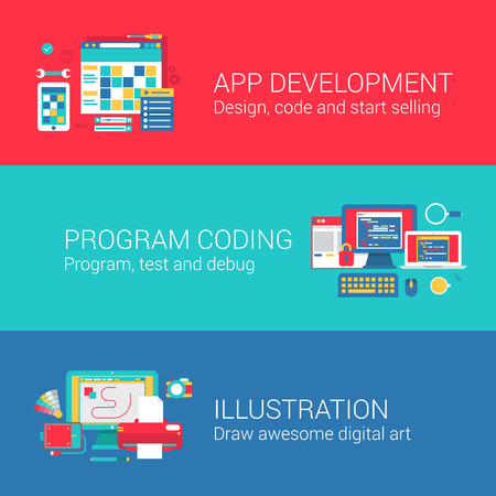 App development code programming concept flat icons set of coding designing testing debugging drawing and vector web banners illustration print materials website click infographics elements collection. Ilustracja