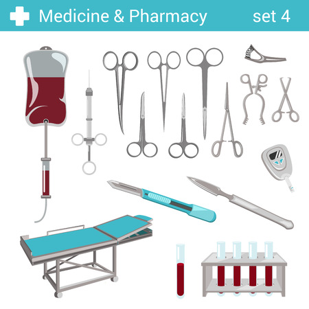 pinzas: Estilo Flat tijeras equipamiento hospitalario farmacéutica médica? Icono bisturí conjunto. Colección farmacia Medicina.
