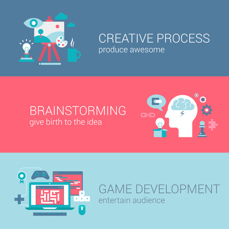 design process: Game development concept flat icons set of creative process brainstorming idea and vector web banners illustration print materials website click infographics elements collection.