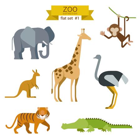 Platte ontwerp vector dieren icon set. Olifanten, giraffen, apen, struisvogel, kangoeroe, tijger, krokodil. Platte dierentuin kinderen cartoon collectie. Stock Illustratie