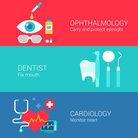 heart monitor: Medical ophthalmology dentist cardiology concept flat icons set of eye sight carry tooth monitor heart vector web banners illustration print materials website click infographics elements collection. Illustration