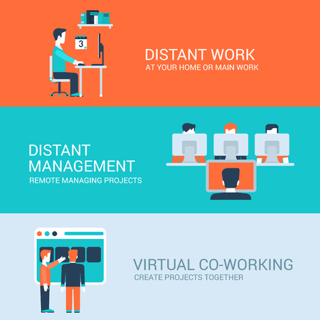 to place: Business distant co-working remote work concept flat icons set of distance workplace table management virtual workspace and website click for infographics design web elements vector illustration.