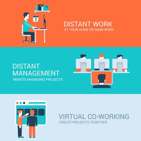 Zakelijke verre co-werkende afstandsbediening werkconcept vlakke pictogrammen set van afstand werkplek tafel beheer virtuele werkplek en website klik voor infographics ontwerp web-elementen vector illustratie.