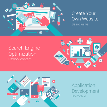 Web site creation seo app concept flat icons set of webdesign process search engine optimization application development and vector web illustration website click infographics elements collection.