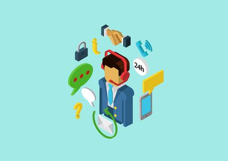 servicio al cliente: Apoyo masculino plana y servicio al cliente personal trabajador. Vector 3d pixel art isométrico concepto de diseño moderno. Banners web ilustración y material impreso. Infografía Website pixelart elementos.