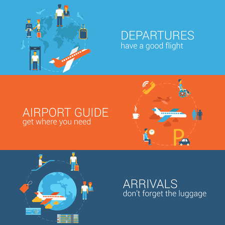 fare: Plane travel flight tickets booking departure arrival concept flat icons banners template set vector web illustration website click infographics elements.