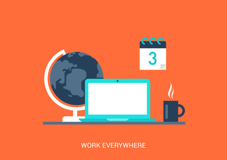 laptop vector: Flat style vector illustration work everywhere concept collage icon. Universal mobile workplace laptop globe coffee cup calendar deadline. Big flat conceptual collection. Illustration