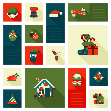 christmas elf: Christmas New Year icon set flat style decorations. Elf hat cap sock gift present sweet candy deer reindeer house turkey head bell. Collection of holiday icons web element infographics print template.