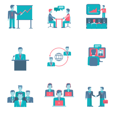 calls: Flat style business people figures infographics user interface icons set presentation report speech chat negotiations video conference call team partnership isolated vector illustration collection.