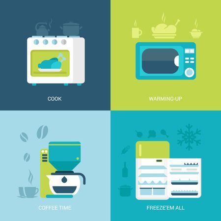 refrigerador: Piso de diseño vectorial Ilustración de concepto de conjunto de la vendimia retro de la electrónica de cocina. Horno, microondas, cafetera, nevera. Gran colección de iconos planos. Vectores