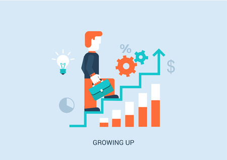 Flat style vector illustration stairway to success in career concept. Businessman with briefcase walking up steps with ideas, graphs, infographic. Big flat conceptual collection.