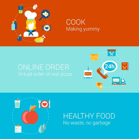 order: Food cooking concept flat icons set of cook professonal online order pizza healthy meal and vector web illustration website click infographics elements collection.