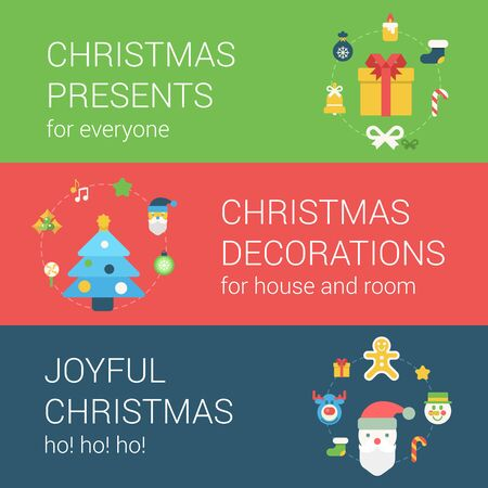 christmas elk: Christmas New Year holidays flat style web icon banner concept infographics elements template. Christmas presents decorations gifts joyful fun decoration objects Santa elk snowman gingerbread man. Illustration