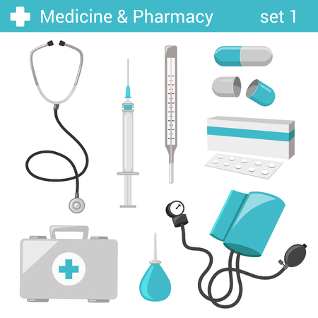 Flat style medical pharmaceutical hospital equipment icon set. Stethoscope, syringe, thermometer, tablet, pill, doctor case, blood pressure, clyster. Medicine pharmacy collection.