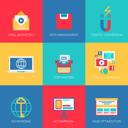 data collection: Flat icons set SEO viral marketing data management keywording copywriting digital advertisement campaign page optimization web click infographics style vector illustration concept collection. Illustration