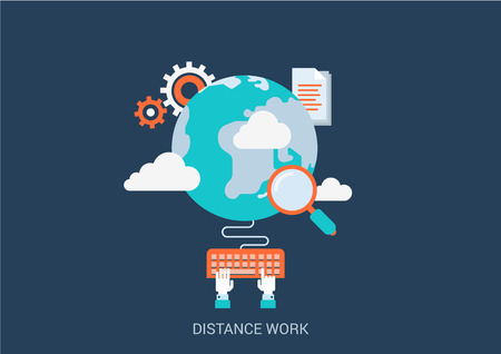 typing on keyboard: Flat style design vector illustration distance work concept. Collage of global online workplace search loupe magnifying glass gear cloud document hand typing keyboard. Big flat conceptual collection. Illustration