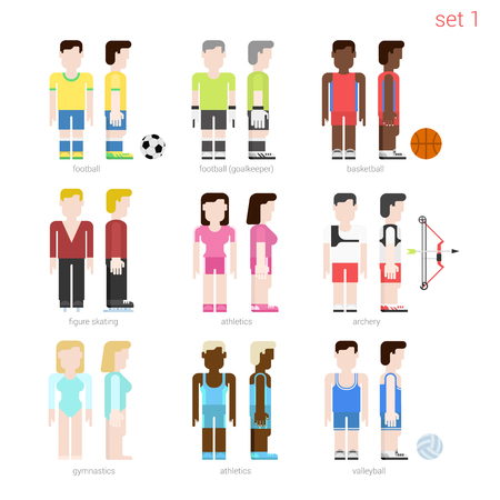 football player: Flat style sportsmen people vector icon set. Female figure skater, archer, basketball, volleyball, athletics. Flat sportsman peolpe collection. Illustration