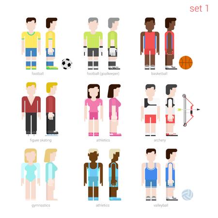 figure skater: Flat style sportsmen people vector icon set. Female figure skater, archer, basketball, volleyball, athletics. Flat sportsman peolpe collection. Illustration