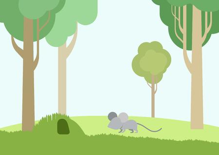 kid vector: Ratón del bebé y la madriguera de diseño plano vector de la historieta animales salvajes. Piso colección naturaleza hijos zoológico.