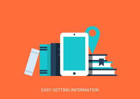 Vlakke stijl ontwerp vector illustratie creatieve technologie tablet lege copyspaceachtergrond onderwijs bibliotheek gemakkelijke toegang tot informatie concept. Touch screen pad ebook bibliotheekboeken kaart pin.