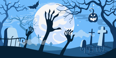 Halloween vector illustration concept template scary graveyard zombie hands dead tree pumpkin bat full moon. Illustration