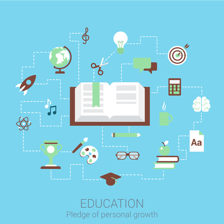 pledge: Modern flat design concept for education knowledge training study and vector web banners illustration print materials website click infographics elements collection.