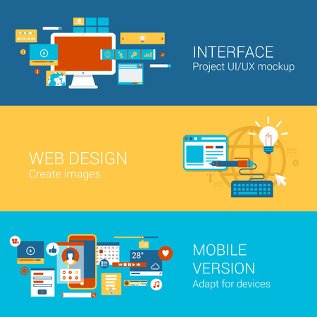 Web site interface design concept flat icons set of project ui ux webdesign mobile version adaptation and vector web illustration website click infographics elements collection. Illustration